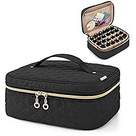 Yarwo Essential Oil Storage Bag for 24 Bottles(5-30ml), Travel Organizer Case for Essential Oil and Accessories, Black (Bag Only)