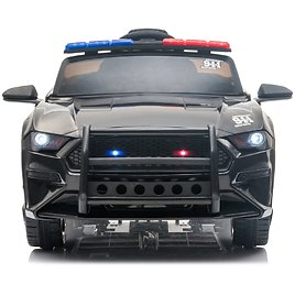 12V Kids Ride On Car for Girls Boys, Kids Ride On Toys Police Car with 2.4G Remote Control,3 Speeds, Siren and Microphone, Kids Electric Car for Children's Gifts, Suitable for 3-6 Years, Black, R2604