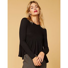 WEST OF MELROSE Flow-tatious Ribbed Babydoll Black Womens Top