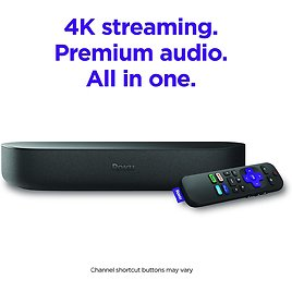 Roku Streambar | 4K/HD/HDR Streaming Media Player & Premium Audio, All in One, Includes Roku Voice Remote