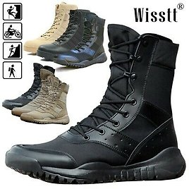 Men's Leather Military Ankle Boots Army Boot SWAT Tactical Combat Climbing Shoes