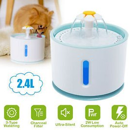 LED Pet Water Fountain Automatic Dog Cat Drinking Dispenser Bowl with Filters