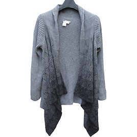 Med 10/12 Womens Coldwater Creek Gray Ombre Cascade Cardigan SWEATER Cotton EUC