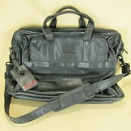TUMI EXQUISITE BLACK LEATHER BRIEFCASE LAPTOP CROSSBODY OVERNIGHT CARRY ON