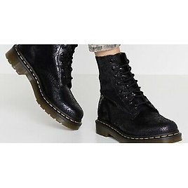 Dr.Martens 1460 Pascal Soft Suede Leather Boot BLACK Iridescent Crackle MSRP$185
