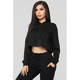 Latest And Greatest French Terry Crop Hoodie - Black