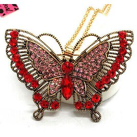 Hot Betsey Johnson Bling Red Crystal Vintage Butterfly Pendant Chain Necklace