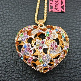 Women's Colorful Crystal Cute Love Heart Pendant Betsey Johnson Long Necklace