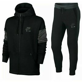 NIKE AIR FULL TRACKSUIT FOR MEN SIZES BLACK WITH GREY COLOURWAY