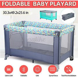 Baby Nursery Crib Playpen Playard Infant Portable Foldable Bed With Carry Bag