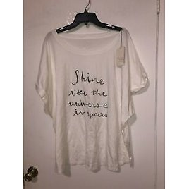 Women' Top A New Day White Draped Style Wide Neck Sequined Statement Plus 4X NWT