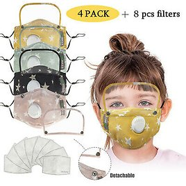 Kids' Child Washable Reusable Face Mask With Filter +Detachable Eye Shield Lot