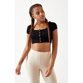 Kendall & Kylie Snap Front Sweater Top