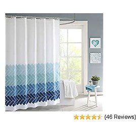 BoomTeck Blue and White Fabric Shower Curtain Set for Bathroom with 12 Hooks 72 X 72 Inches Polyester Waterproof Machine Washable Decorative Bath Curtain Hotel Grade Home Decor