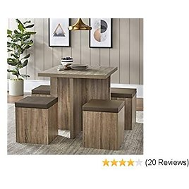 Dining Mainstays 5-Piece Dexter Set with Storage Ottoman (Natural)