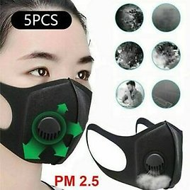 5PCS PM2.5 Outdoor Purifying Face Mask Carbon Filter Valve Cycling Unisex Adult