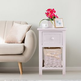 Costway Mini Night Stand 2 Layer 1 Drawer Bedside End Table Organizer Wood W/Basket