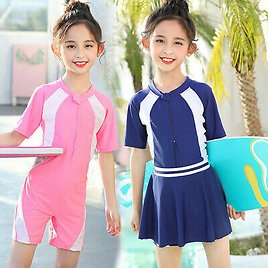 Girls One Piece Swimsuit 2 in 1 Swimwear with Skirt for Kids Bathing Suits 521