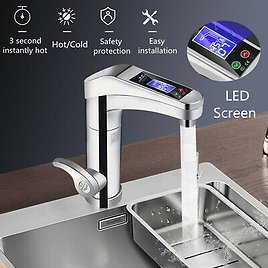 220V LED Electric Instant Water Heater Faucet Tap Hot Home Bathroom Kitchen