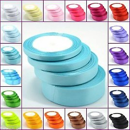 25 Yards Satin Ribbon 6 10 15 25MM in Multi Colours Sold in Roll Craft Wedding