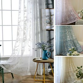 Baroque Embroidery Crochet Curtain Pelmets Lace Tulle Voile Window Panel Modern