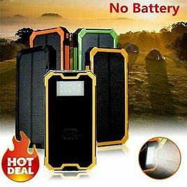 LED 50000mAh Solar Power Bank-Waterproof Dual USB Battery Charger For Cell Phone