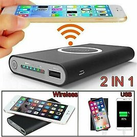 900000mAh Power Bank Qi Wireless Charging Portable Dual USB Battery Charger Case