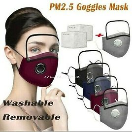 Adults Washable Reusable Face Mask With Filter And Detachable Eye Shield Set