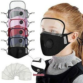 Kids' & Adults Washable Reusable Face Mask With Filter And Detachable Eye Shield