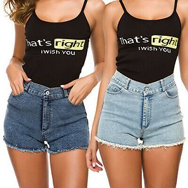 Women's Girls Fashion High Waisted Washed Denim Shorts Jeans Casual Hot Pants