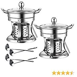 2 Pack Shabu Hot Pot Stainless Steel Chafing