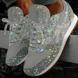 Womens Sequin Mesh Sports Shoes Glitter Breathable Casual Running Comfty
