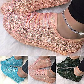 Womens Fashion Shoes Casual Flat Bling Glitter Lace Up Sport Shoes Sneakers AU
