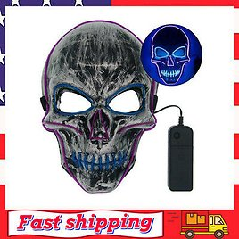Halloween Skeleton Led Mask Glow Scary El-wire Mask Light Up Cosplay 4 Modes