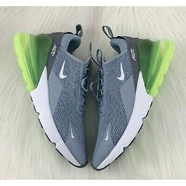New Nike Air Max 270 Cool Grey Lime Green White Womens Size 8 Sneaker AH6789-404