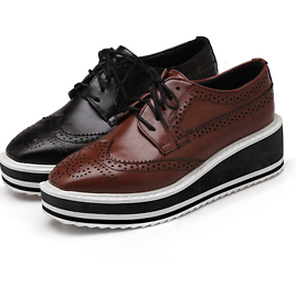 Womens Wing Tip Brogues Lace Up Platform Creeper Shoes Square Toe Oxfords Shoe D
