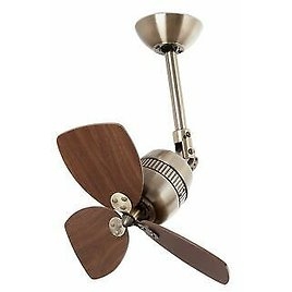 Small Ceiling Fan with Wall Control Vedra Antique Gold & Walnut Décor 46 Cm