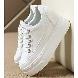 Womens High Hidden Heel Platform White Sneakers Lace Up Trainer Shoes Hot Casual