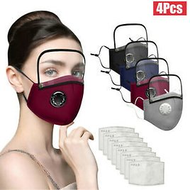 4Pcs Adults Washable Reusable Face Mask With Filter And Detachable Eye Shield UK