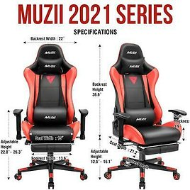 Gaming Chair with Footrest Office Racing Style Computer Swivel Desk Chair Red