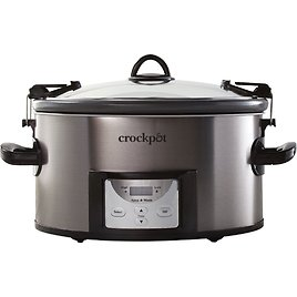 Crock-Pot Cook & Carry Programmable 7-Quart Slow Cooker with Easy Clean - Black Stainless Steel