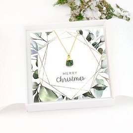 Christmas Gift Raw Stone Necklace, Birthstone Necklaces, Birthday Gift for Women, Dainty Gemstone Pendant, Green Emerald Stone Necklace Gold