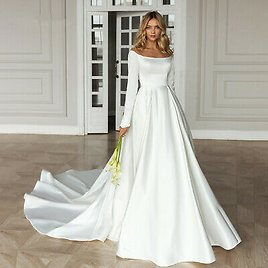Thick Satin White/Ivory A Line Zipper Wedding Dress Long Sleeve New Bridal Gown