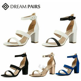DREAM PAIRS Women's Open Toe Low Chunky Heel Sandals Double Strap Party Shoes