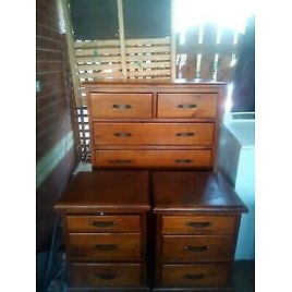 Queen Bed Suite with Side Cupboards and Tallboy Settlers Style Beautiful Furnitu