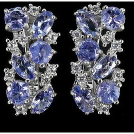 Unheated Oval Tanzanite 5x3mm Cz White Gold Plate 925 Sterling Silver Earrings