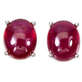 Oval Red Ruby 10x8mm 14K White Gold Plate 925 Sterling Silver Earrings