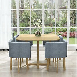 Dining Set New Dining Table & 4 Chairs Space Saver Home Cafe Table Chairs UK