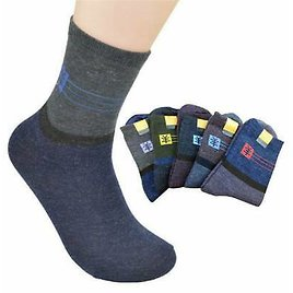1-5 Pairs Mens Wool Cashmere Socks Lot Design Thick Warm Casual Winter Fashion