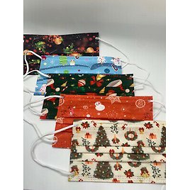 Christmas Holiday Disposable Face Mask 50 PCS Assorted 3-Ply Adult Mouth Cover